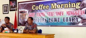Kapolres Pimpin Rapat Anev Mingguan Pola Coffee Morning