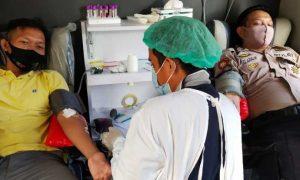 HUT ke- 74 Bhayangkara, Polres Pangkep Donor Darah