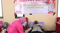 Sambut HUT Bhayangkara Ke-75, Kapolres dan Personel Polres Takalar Donor Darah