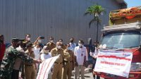 Bupati Jeneponto Lepas Tiga Truk Bantuan Beras PPKM Bagi PKH dan BST